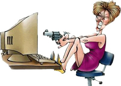 News photo of a McAfee user taking her frustration out on an image of McAfee on her computer.
