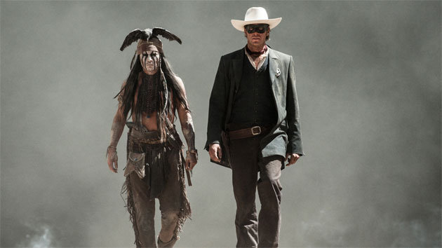 "Johnny Depp (L) and Armie Hammer (R) in ""The Lone Ranger."""