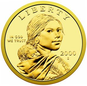 Sacagawea toting Sac Jr, on the last very popular dollar coin. NOT!