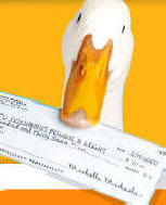 AFLAC duck receiving his first medical compensation check.