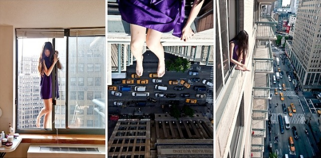 Photo Instructions of how to hang yourself out of a very tall building.