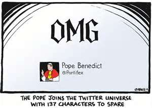 Pope Benedict's first tweet. Day 1.