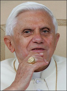 Pope Benedict with his ring from Jareds