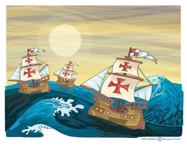 The Nina, Pinta and Santa Maria..or is it the Pinta, Nina,and Santa Maria..NO WAIT! It's the Santa Maria, Pinta and umm...ah screw it....it's Columbus' three boats