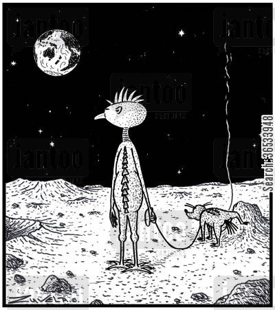 An Alien on the Moon waiting for his Alien dog to finish Peeing.