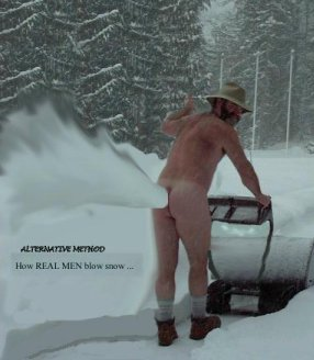 Snowblower naked man butt