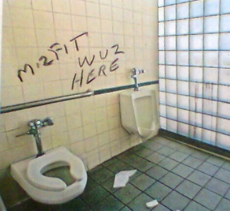 Misfit was here bathroom graffiti