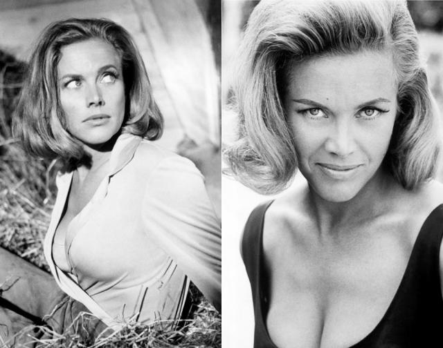 """Catty Honor Blackman as """"Pussy Galore"""" in the 007 movie"""