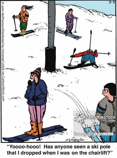 'Yoooo-hooo! Has anyone seen a ski pole that I dropped when I was on the chairlift?'