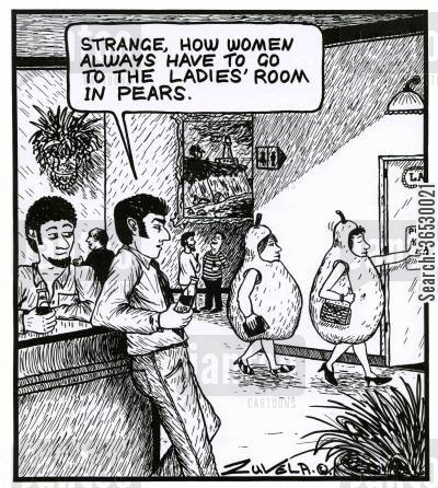 'Strange, how women always have to go to the ladies' room in pears.'