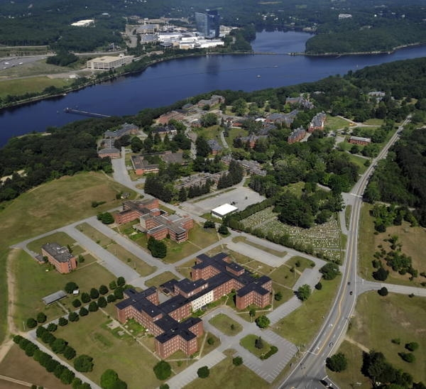 "Artists rendering of the Norwich State Hospital grounds....as, I assume, a bird would view it, hence, a ""birds eye view."" Mohegan Sun Casino in in the background"