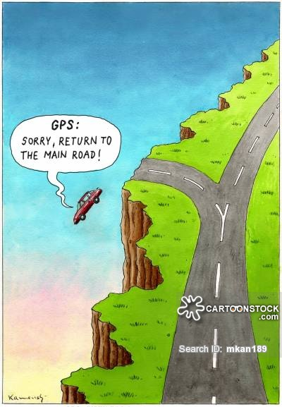 GPS: 'Sorry return to the main road.'